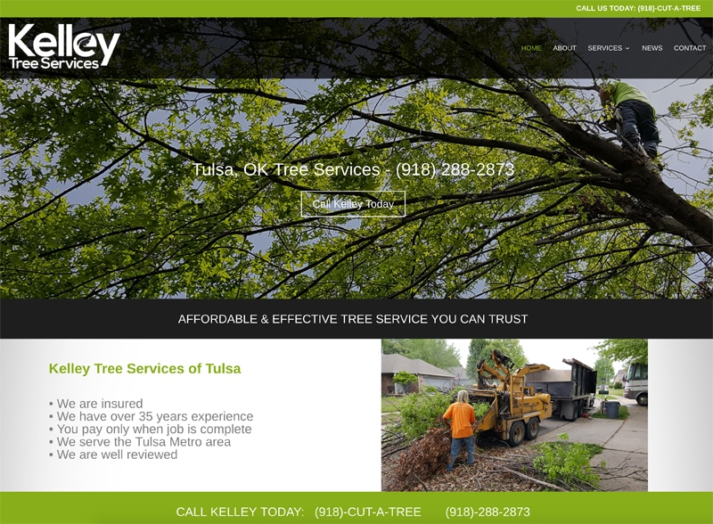 Kelley Tree Services website screen shot